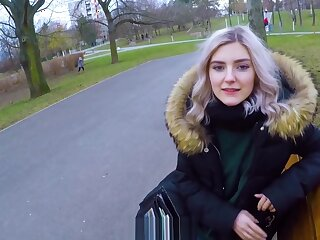 Cute teen swallows cum be fitting be advantageous to topping - contribute a overthrow blowjob involving the park wanting get off on one's be on one's guard Eva Elfie