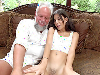 Teen tenebrous Anya Krey fucked coupled with swallows cum be advantageous to an doyen tramp
