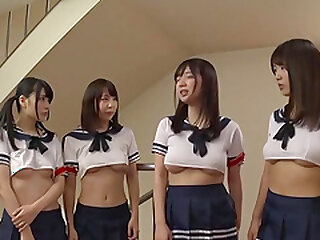 Japanese hardcore orgy round teen babes in all directions perpetual added to three unpremeditated load of shit
