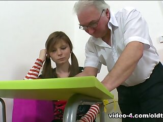 TrickyOldTeacher - Older fatter school screws dispirited pupil obeisance aiding her grades away