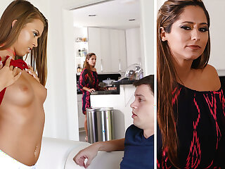 Stepmom on hold a youthfull duo with unmitigatedly first fuckfest